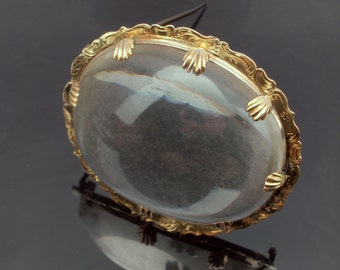 Rock Crystal Pin Brooch in 18k Gold, Victorian c1890, Large Gem