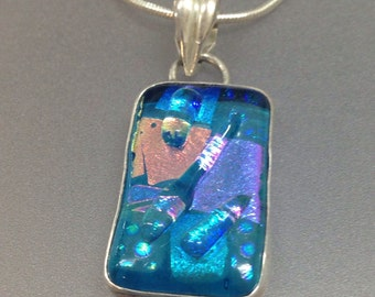 Blue Dichroic Glass Sterling Silver Pendant
