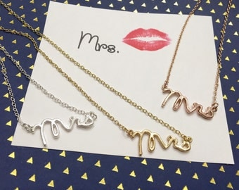 Dainty Mrs Smaller Version Necklace in Gold, Silver ,perfect everyday necklace