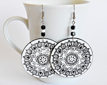 FREE SHIPPING, Handmade and hand painted circle earrings, Mandala earrings, Gift for her, Modern lightweight earrings, Jewelry for woman