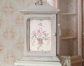 Dollhouse Miniature, Small Grey Cabinet, Decoupage Furniture, Wall Cupboard, Flower Print, Shabby Cottage Chic, 1:12th Scale