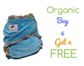 AiO Organic One Size Cloth Diapers 6 Pack Bamboo Velour All in One Diapers SALE Bundle Pack