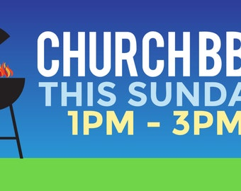Custom Church BBQ Banner with Grill