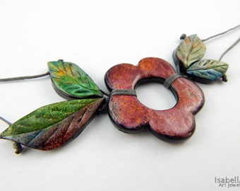 Polymer clay flower necklace, christmas gift, coral pink flower necklace, faux ceramic flower, flower with leaves, alcohol ink