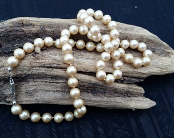 Simulated Pearl necklace with German silver clasp hand knotted cream tones vintage