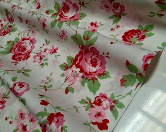 "Cath Kidston Ikea ROSALI 100% Cotton Fabric Material floral roses - 150cm/59"" wide - WHITE ROSE"