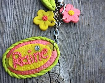 Personalized keychain, Personalized Polymer Clay Keychain, Girls Keychain, Girls Bag Charm, Personalized keyring, Custom Keychain, Charm