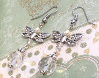 Crystal and Pearl dragonfly earrings