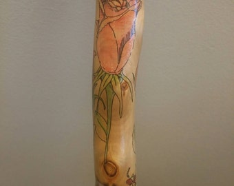 Roses and Dragonflies Walking Stick