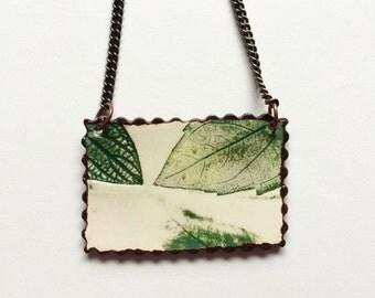 SALE Large Northwest Rectangle Ceramic Leaf Necklace