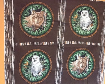 Owls and wolves pillow panel