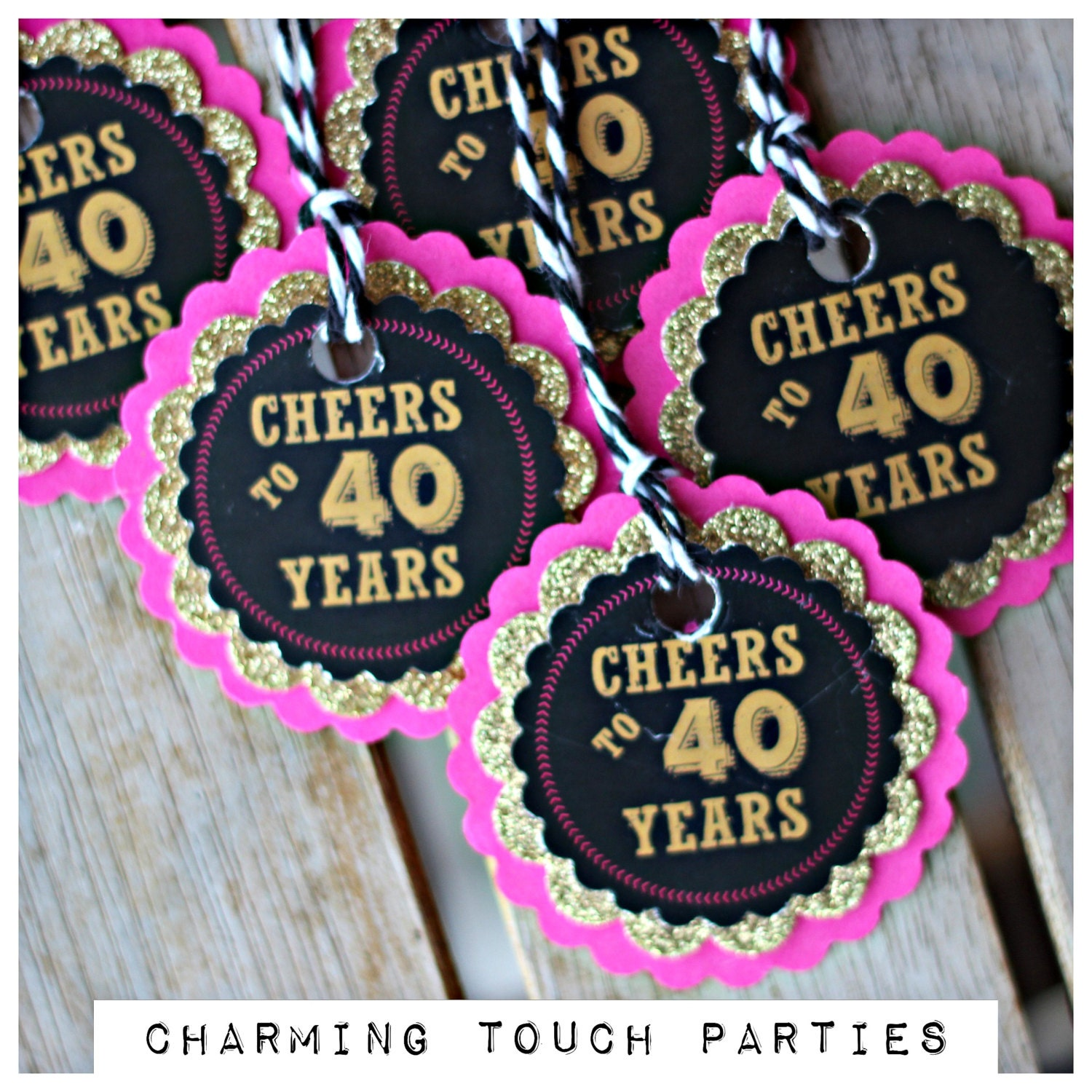 CHEERS TO 40 YEARS Ladies Favor Tags 40th Favor 40th Party