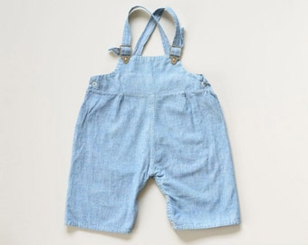 6-9 Months | Vintage Infant/Baby Chambray Overalls | Blue Cotton Denim-look | 1950s | Twins