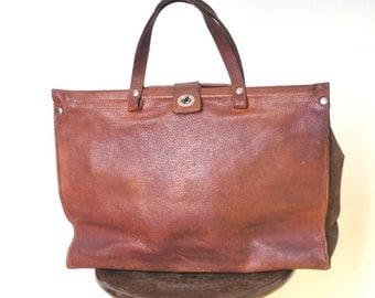 Elegant 1960's leather shopping bag, Leather Bag Travel Luggage