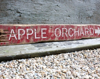Apple Orchard Rustic Distressed Directional Wood Lodge  Harvest  Fall Log Cabin Sign