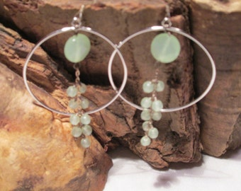 Silver Tone Post -hoop earrings in muted green.