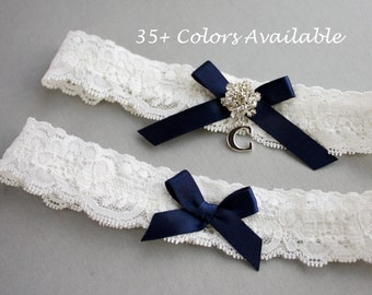 Something Blue Wedding Garter SET, Personalized Bridal Garter Set, Lace Garter Set, Navy Blue Garter with Toss Garter, Silver Initial Garter