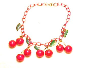 1 Bakelite Necklace Beautiful with 8 Carved Cherries