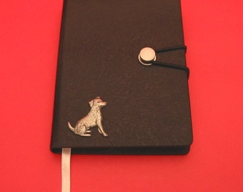 Jack Russell Terrier Hand Cast Pewter Motif on A6 Black Journal Christmas Gift Dog Notebook