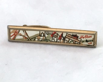 Gold Tone French Modern Tie Bar, Follies La Revue Design Tie Clip, Colorful Paris Tie Clasp, Hickok Tie Tack, Artistic Tie Clip