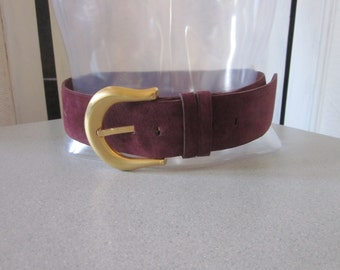 """1980s Plum-Colored Suede Belt with Brass Buckle by """"Pearl,"""" Size Medium"""