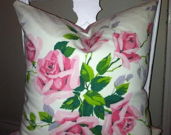 Shabby Chic Pillow Cover, Cottage Chic, Vintage Wilendur Fabric