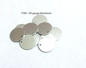 Metal blanks with hole -1/2 round //Tumbled Blanks//PREMIUM blanks//20G - 1100 -Metal blanks//Tumbled blanks//Hand Stamping Supplies