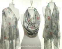 Butterfly Print Lightweight Spring Summer Scarf Infinity Scarf Beach Coverup Pareo Women's Fashion Accessories Easter Gift Ideas For Her Mom