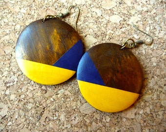 Wood Earrings - Hand Painted Pendant Dangle Earrings, Bright Yellow & Blue Colorful Earrings