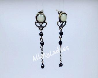 Dangling earrings metal bronze with black agate beads