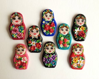 Matryoshka Brooches Inspired with Pavloposad shawls, Russian Nesting Dolls Matrioshka , Miniature Retro Flower pattern Babooshka by Milushka