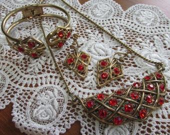 Vintage Red Rhinestone Necklace, Bracelet, Earring Set