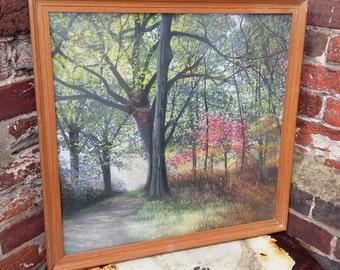 Original Vintage Woodland Painting Glazed Beech Frame
