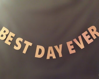 Best Day Ever Banner - 5.50 inch Letters- Gold Glitter Wedding Banner, Wedding Banner, Wedding Decor, Wedding Garland, Wedding Sign