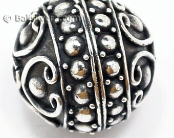 Bali Beads Sterling Silver  round  Beads Ornate Bali silver beads # BB 1536A with a special design