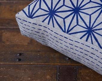 Star Pattern Blue 40cm x 40cm box cushion - Hand screen printed