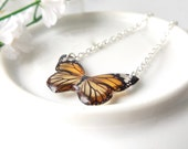 Monarch butterfly necklace - silver plated necklace - unique, nature inspired jewellery lovingly created in the UK