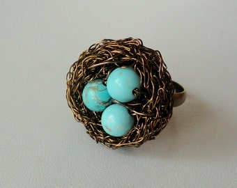 Ring , birds nest ring , wire wrapped ring , beaded ring , naturei jewelry,  turquoise ring,beaded ring,adjustable ring,nest ring