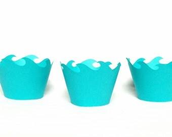 12 teal wave cupcake wrappers cupcake wraps, Ocean, Moana,  bubble guppies, mermaid, beach, Ariel, nautical, ocean waves
