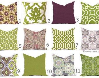 Outdoor Pillows or Indoor Custom Cover - Green Olive Grass Bay Ivory Purple Plum Lilac Lavendar Modern Tribal Quatrefoil Ikat 18x18, 16x16