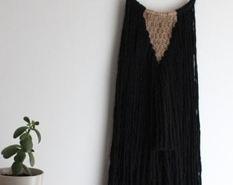 Black Macrame and Wool WallHanging