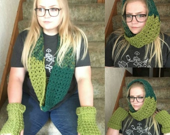 Crochet Scarf and Fingerless Glove Set-CLEARANCE ITEM