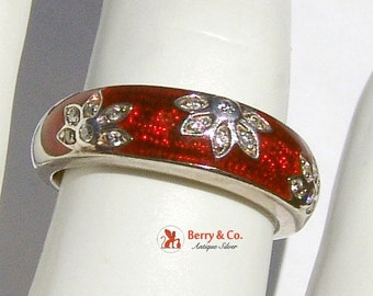 SaLe! sALe! Enamel Band Ring Floral Sterling Silver