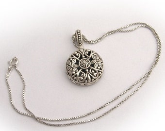 SaLe! sALe! Lovely Openwork Beaded Floral Scroll Pendant Necklace Sterling SIlver