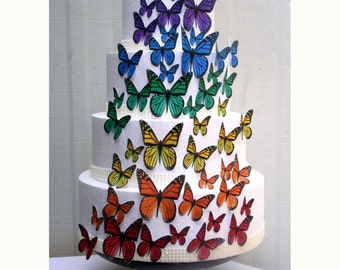 Edible Butterflies Wedding Cake Topper, Rainbow Edible Butterflies, Set of 48 DIY Cake Decor, Edible Cake Decorations, Cupcake Toppers