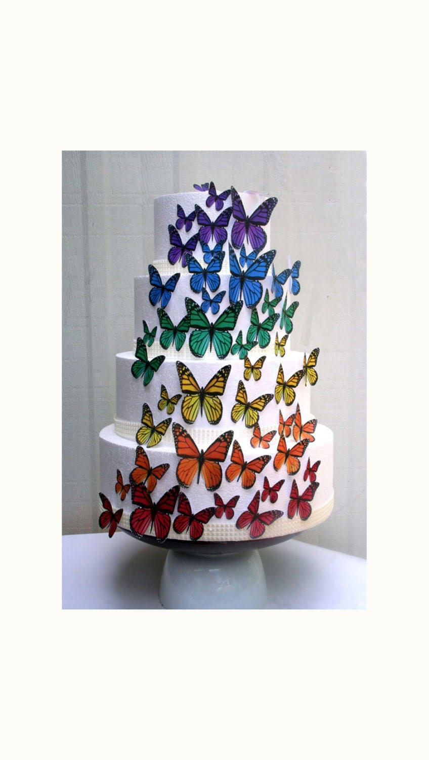 Cake Decorating Edible Plaques : Edible Butterflies Wedding Cake Topper Rainbow Edible