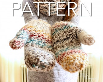 Chunky Mittens, Knitting Pattern, Intermediate, PDF Download