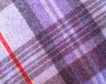 Vintage Purple brown plaid Wool Blanket