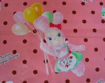 Japanese KOKKA Bunny oxford cotton fabric peach polka dot