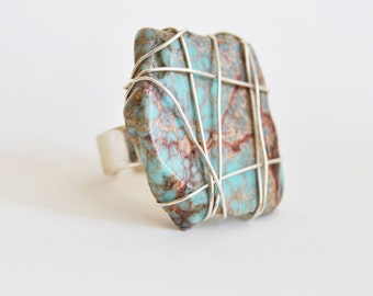 Light Blue/Red Imperial Jasper adjustable Ring